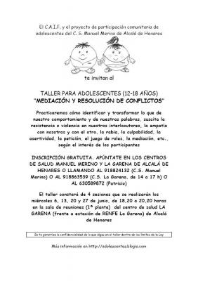 TALLER PARA ADOLESCENTES SOBRE MEDIACIÓN Y RESOLUCIÓN DE CONFLICTOS